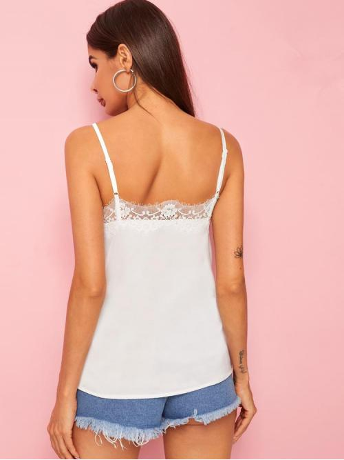 Short Sleeve Cami Contrast Lace Satin Lace Trim Top Clearance