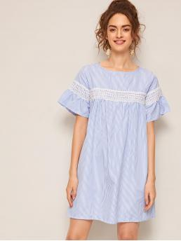 Cute Striped Straight Loose Round Neck Short Sleeve Flounce Sleeve Natural Blue Short Length Contrast Lace Ruffle Cuff Striped Dress