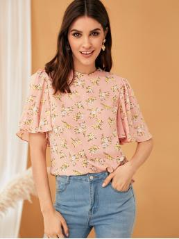 Boho Ditsy Floral Top Regular Fit Stand Collar Short Sleeve Butterfly Sleeve Pullovers Pink Regular Length Zip Back Flutter Sleeve Ditsy Floral Top