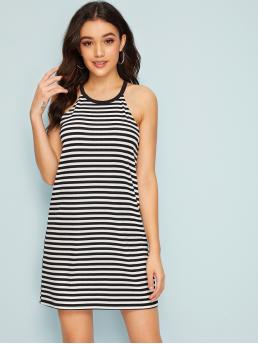 Basics Tunic Striped Straight Loose Halter Sleeveless Natural Black and White Short Length Halterneck Striped Dress