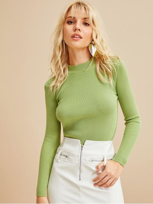 Basics Plain Slim Fit Stand Collar Long Sleeve Pullovers Green Regular Length Ribbed Stand Collar Solid Sweater