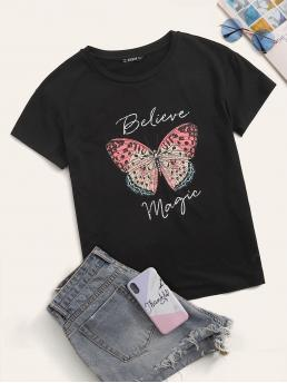 Casual Animal and Slogan Regular Fit Round Neck Short Sleeve Pullovers Black Regular Length Letter & Butterfly Print Tee