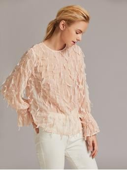 Boho Plain Top Regular Fit Round Neck Long Sleeve Regular Sleeve Pullovers Pink and Pastel Regular Length Premium Applique Detail Shirred Bell Sleeve Top