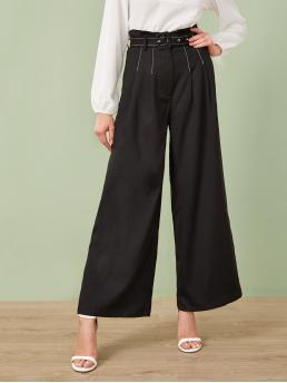 Elegant Plain Wide Leg Regular Zipper Fly High Waist Black Long Length Paperbag Waist Contrast Stitch Buckle Belted Palazzo Pants with Belt