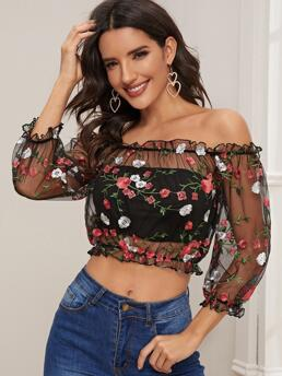 Discount Three Quarter Length Sleeve Top Frill Mesh Trim Sheer Top Without Tube