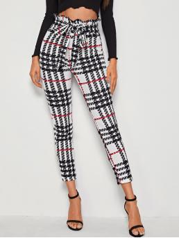 Casual Plaid Skinny Skinny Elastic Waist High Waist Multicolor Cropped Length Paperbag Waist Belted Plaid Pants with Belt