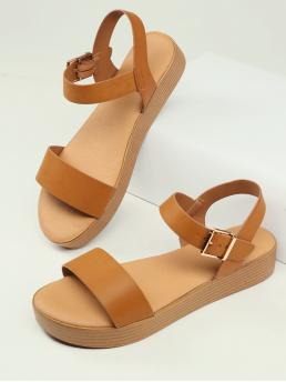 Shopping Brown Strappy Sandals Buckle Low Heel Open Toed Ankle Flatform Sandals