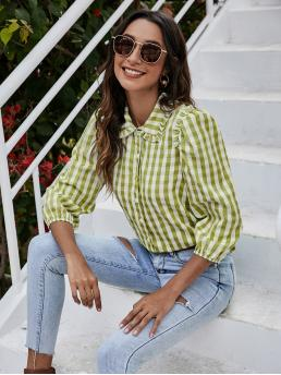 Three Quarter Length Sleeve Shirt Button Front Polyester Frill Trim Blouse Pretty