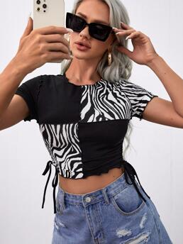 Cheap Short Sleeve Ruched Cotton Zebra Stripe Sided Top