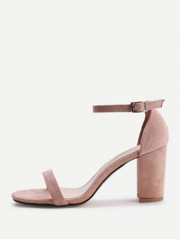 Business Casual Open Toe Plain Ankle Strap Pink High Heel Chunky Two Part Block Heeled Sandals