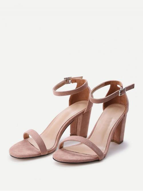 Corduroy Pink Strappy Sandals Buckle Two Part Block Heeled Sandals Trending now
