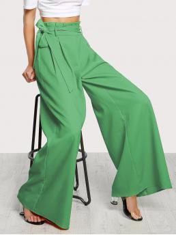 Elegant Plain Wide Leg Loose Zipper Fly High Waist Green Long Length Frill Waist Belted Palazzo Pants with Belt