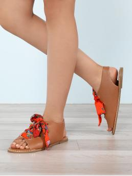 Open Toe Floral Lace Up Tan Low Heel Floral Scarf Tie Lace-Up Gladiator Sandals
