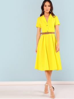 Casual Shirt Plain Flared Notched Short Sleeve Natural Yellow Neon Yellow Notch Collar Fit & Flare Dress