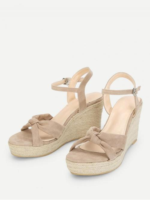 Corduroy Pink Mules Knot Design Espadrille Wedges Shopping