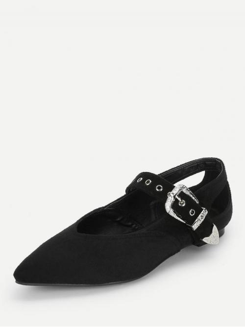 Corduroy Black Ballet Buckle Western Decorated Flats Clearance