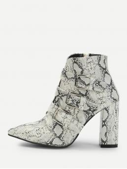 Shearling Multicolor Classic Boots Buckle Snakeskin Pattern Boots Pretty