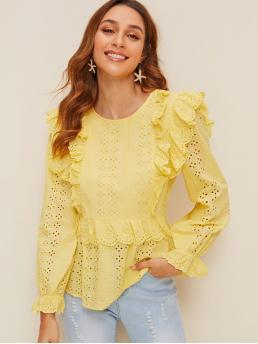 Cute and Boho Plain Peplum Regular Fit Round Neck Long Sleeve Flounce Sleeve Pullovers Yellow Regular Length Ruffle Trim Embroidered Eyelet Top