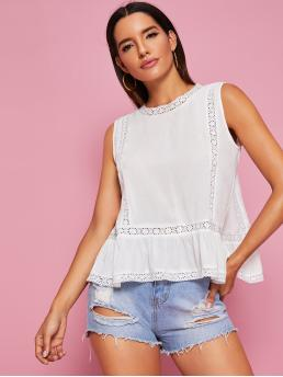 Boho Plain Top Regular Fit Round Neck Sleeveless Pullovers White Regular Length Lace Panel Tulip Back Peplum Blouse