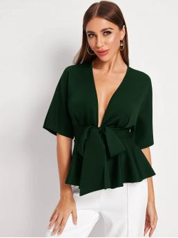 Sexy Plain Flared Regular Fit Half Sleeve Batwing Sleeve Placket Green Regular Length Plunging Tie Front Peplum Top with Belt