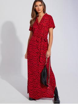 Casual Shirt Leopard Slit Regular Fit Lapel Short Sleeve Roll Up Sleeve Natural Red and Bright Maxi Length Leopard Print Belted Maxi Shirt Dress with Belt