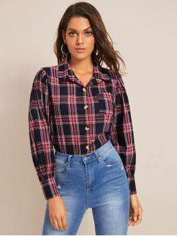 Preppy Tartan Shirt Regular Fit Collar Long Sleeve Regular Sleeve Placket Multicolor Regular Length Tartan Print Pocket Button Front Blouse
