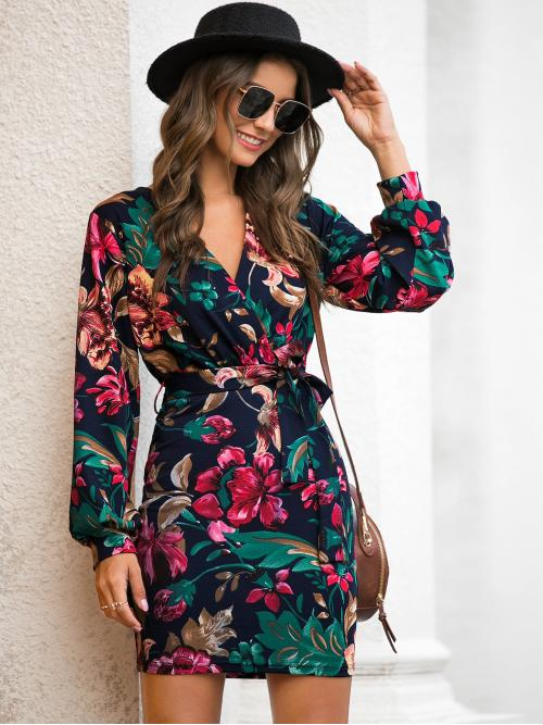 Casual Fitted Floral Pencil Regular Fit V neck Long Sleeve Regular Sleeve High Waist Multicolor Short Length Floral Print Self Tie Fitted Dress with Belt