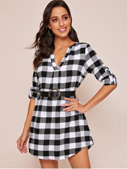 Casual Tunic Gingham Straight Loose Notched Long Sleeve Roll Up Sleeve Natural Black and White Short Length Roll Tab Sleeve Buffalo Plaid Dress Without Belt