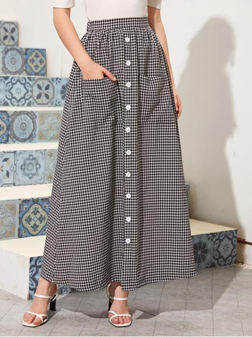Casual A Line Gingham High Waist Black and White Long/Full Length Button Front Gingham Print Skirt