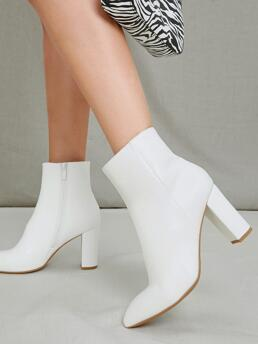 White Classic Boots High Heel Chunky Faux Leather Ankle Booties Discount