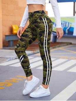 Multicolor Side Stripe Regular Camo Wide Waistband Striped Tape Side Leggings Beautiful