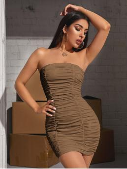 Womens Coffee Brown Plain Ruched Strapless Tube Dress