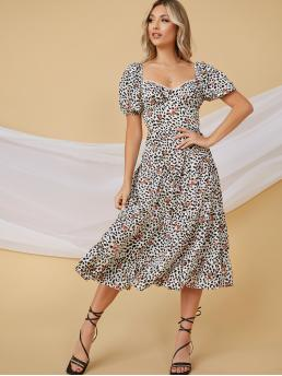 Black and White all over Print Zipper Sweetheart Floral Cheetah Print Tiered Ruffled Midi Dress Trending now