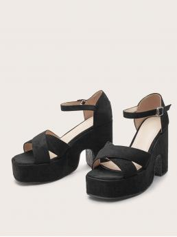 Womens Black Strappy Sandals High Heel Chunky Heeled Sandals