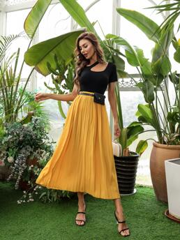 Yellow High Waist Belted Pleated Solid Skirt Sale