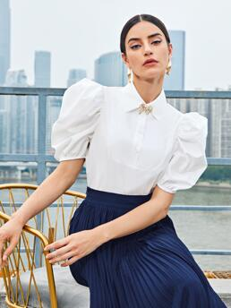 Beautiful Short Sleeve Top Button Front Polyester Half Crop Top
