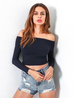 Sexy Plain Slim Fit Off the Shoulder Long Sleeve Pullovers Navy Crop Length Bardot Ribbed Crop Tee