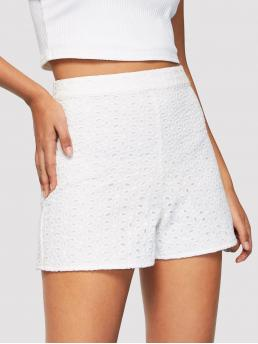 Casual Plain Regular Zipper Fly High Waist White Zip Side Eyelet Embroidered Shorts