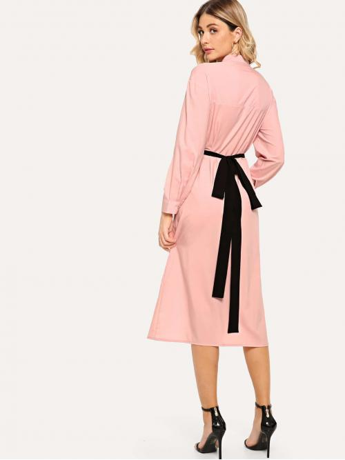 Casual Shirt Plain Straight Loose Collar Long Sleeve Natural Pink Long Length Ring Detail Knot Back Dress with Belt