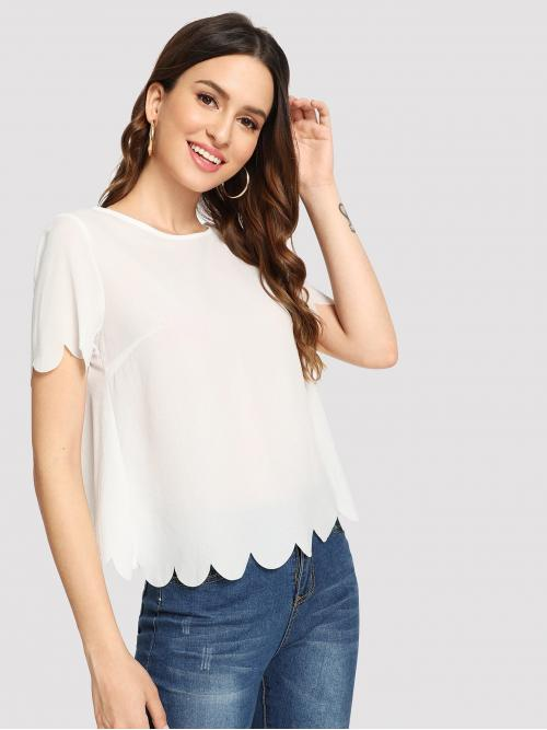 Womens Short Sleeve Top Scallop Guipure Lace Top