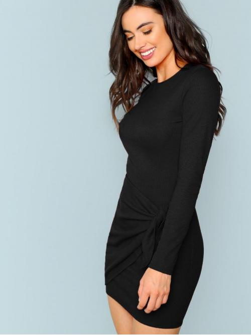 Black Plain Wrap Round Neck Knotted Front Fitted Dress Shopping