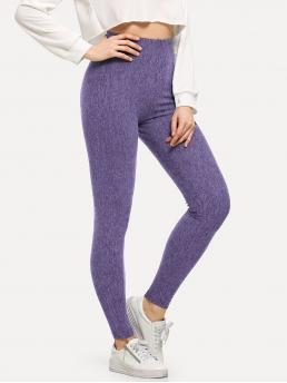 Women's Purple Natural Waist Drawstring Regular High Waist Solid Skinny Leggings