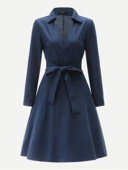 Casual A Line Plain Flared Regular Fit V neck Long Sleeve Regular Sleeve High Waist Navy Midi Length 70s Collared V-neck Belted Chambray Wrap Dress