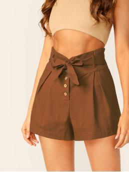 Casual Plain Straight Leg Regular High Waist Brown Button Fly Waist Tie Woven Paperbag Shorts