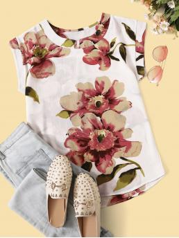 Casual Floral Asymmetrical Top Regular Fit Round Neck Cap Sleeve Pullovers Multicolor Regular Length Floral Print Curved Hem Blouse