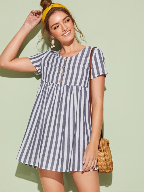 Cute and Boho A Line Striped Straight Loose Round Neck Short Sleeve Regular Sleeve High Waist Grey Short Length Striped Button Front Babydoll Dress