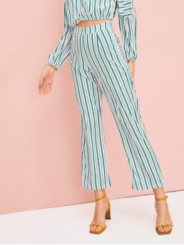 Casual Striped Wide Leg Regular Mid Waist Multicolor Cropped Length Striped Wide Leg Pants