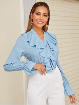 Elegant Plain Shirt Regular Fit V neck Long Sleeve Placket Blue and Pastel Regular Length Ruffle Trim Flounce Sleeve Shirt