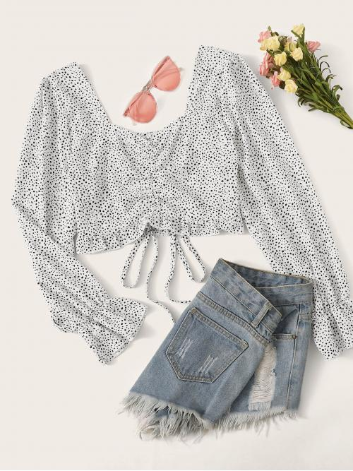 Casual All Over Print Top Regular Fit Sweetheart Long Sleeve Flounce Sleeve Pullovers White Crop Length Dalmatian Print Shirred Back Crop Blouse