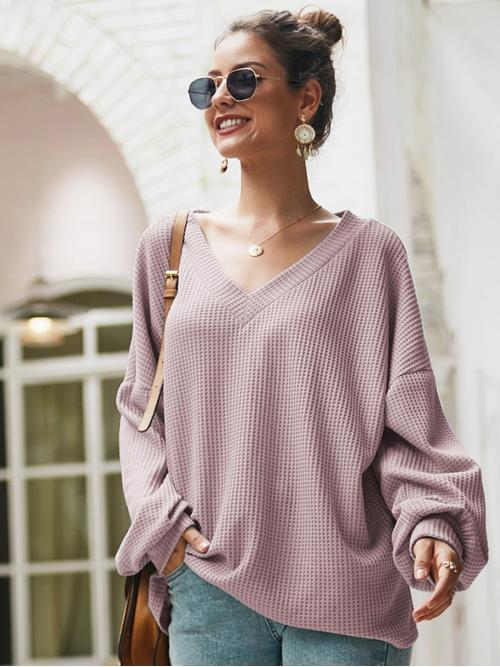 Casual Plain Oversized V neck Long Sleeve Bishop Sleeve Pullovers Purple Regular Length Solid V-Neck Waffle Knit Oversized Sweater